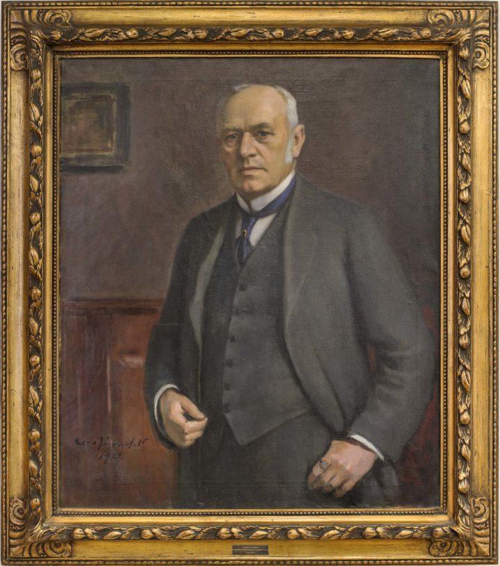 Taulussa on kauppakamaritoiminnan uranuurtaja, todellinen valtioneuvos August Ramsay.